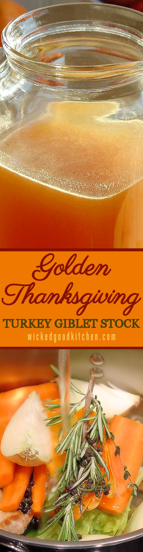 Golden Thanksgiving Turkey Giblet Stock ~ Simply the BEST turkey stock recipe! Perfect for #Thanksgiving and #Christmas #Holidays, our homemade stock with bright flavor notes gives an unbeatable rich turkey flavor to homemade gravy and stuffing. BONUS: Includes Recipes for Day-After Turkey Stock and How To Make Homemade Bouillon.