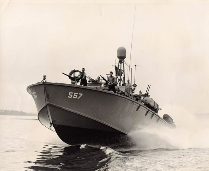 """WW II Patrol Torpedo Boat.  Two of these also were sent across the Triangle and were used during the Ch'kutar War in Passprtal 2. PT boats were a variety of torpedo-armed fast attack craft used by the US Navy in World War II to attack larger surface ships. """"PT"""" is the US hull classification symbol for """"Patrol Torpedo"""". The PT boat squadrons were nicknamed """"the mosquito fleet"""". The Japanese called them """"Devil Boats"""". They displaced up to 300 tons and the top speed was 25 to 27 kn (29 to 31…"""