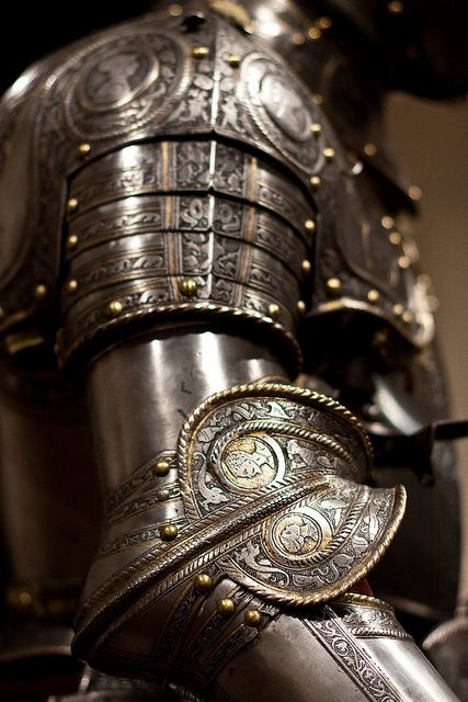 Knight's Armor Italy (likely Milan) ca. 1565 Steel and copper alloy with gilding, leather, and textile