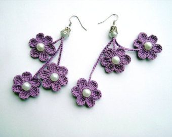 pendientes de ganchillo, crochet flores pendientes, joyas, púrpura flores del ganchillo