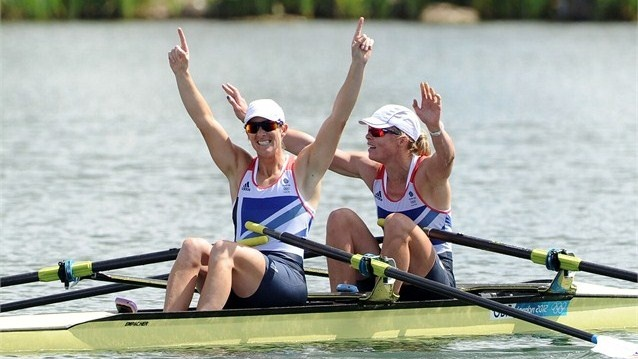 Katherine Grainger and Anna Watkins of Great Britain celebrate after winning gold