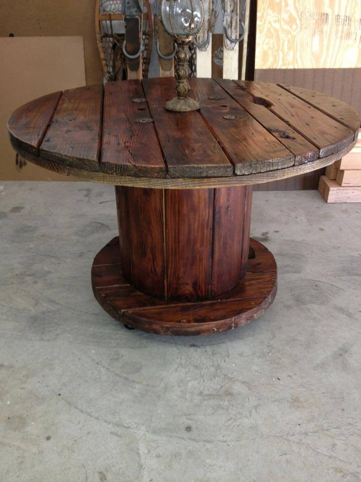 Wooden Wheel Table ~ Ideas about cable reel table on pinterest
