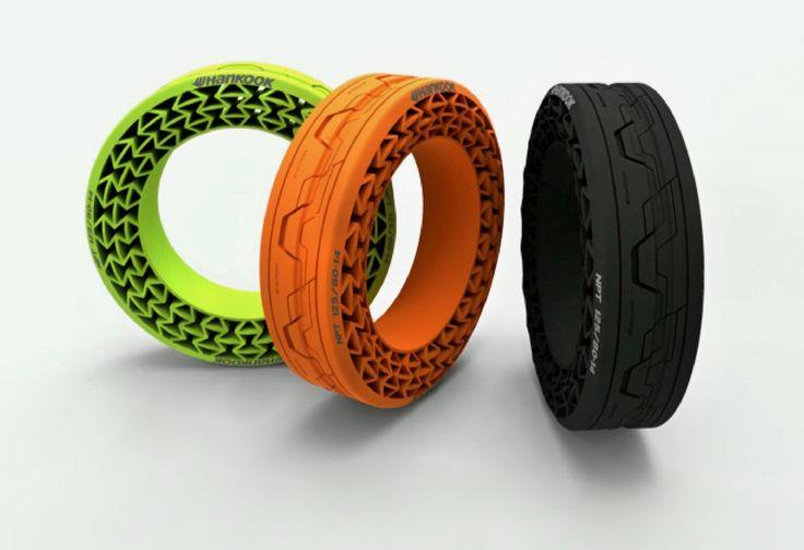 É o caso da empresa de pneus Hankook, da Coreia do Sul, que vem desenvolvendo um modelo de pneus para carros que não precisa de ar para encher. Aliando conhecimentos de engenharia e design, a quinta geração do protótipo, iFlex, é feita com elementos ecofriendly. A sustentação, no lugar do ar, é feita por camadas de plástico.