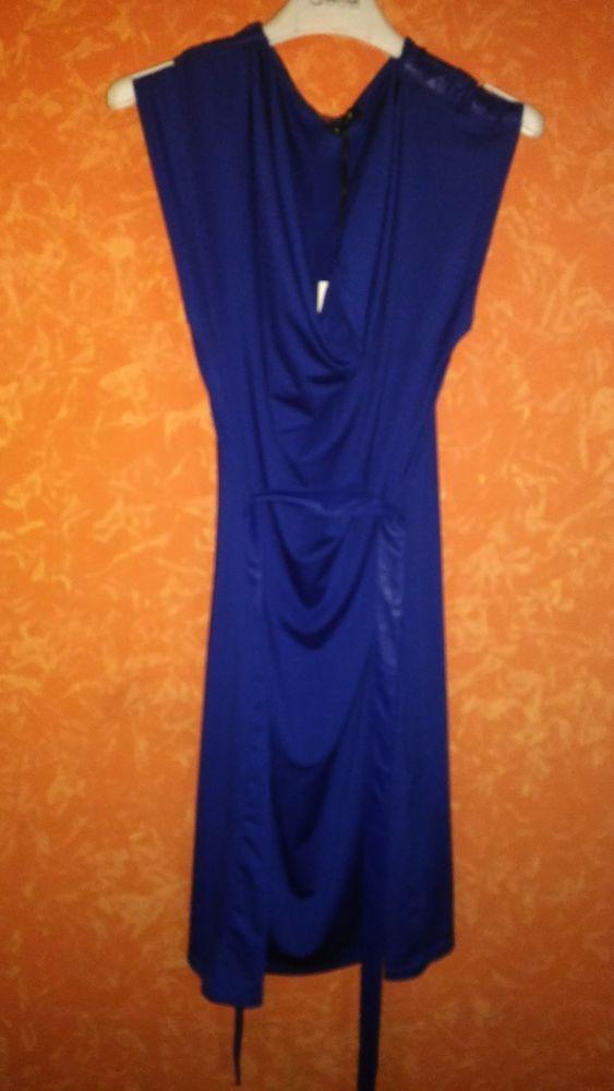 abito smanicato blu cobalto MORGAN TG S con spalline e cinturino in ecopelle