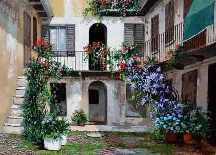 Cortile of a house along the #Naviglio Grande in #Milan #Italy @youritalianconcierge.com...