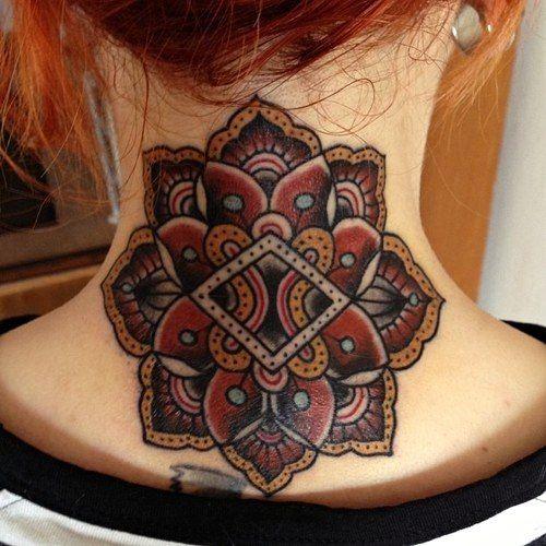 Geometric Flower Tattoo: #colour #geometric #flower #tattoo