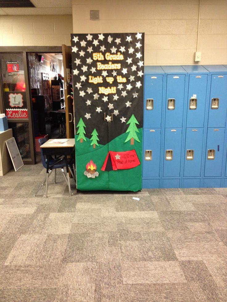 Classroom Decoration Ideas For Door ~ Best camping theme decorations for school library