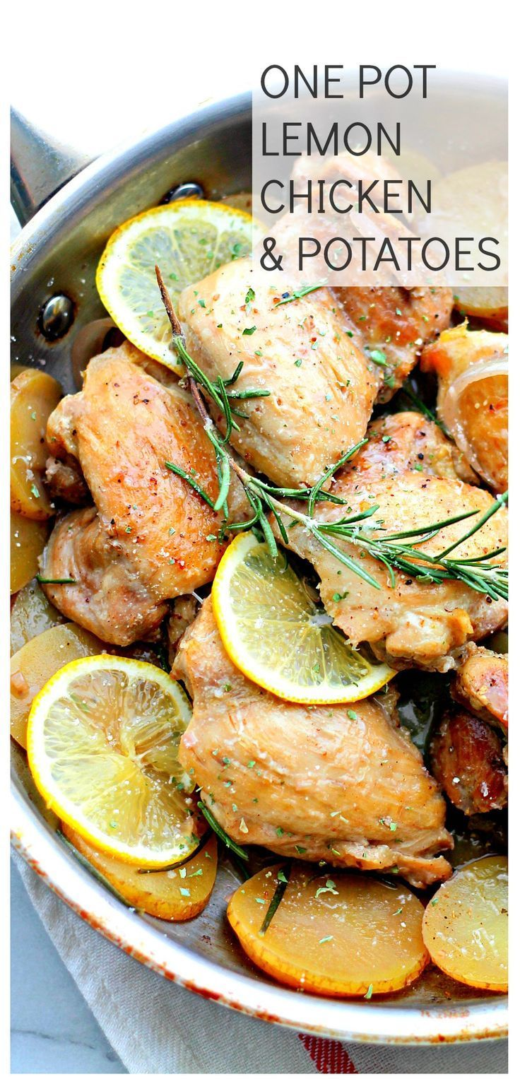 One-Pot Lemon Chicken and Potatoes   SO delicious and flavorful, this is a complete meal made all in one pan and in just 30-minutes! Our new favorite chicken dinner!