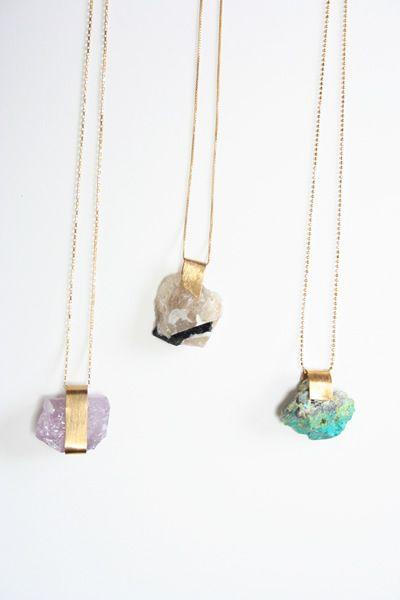 mineral necklaces. amethyst, black/white tourmaline, blue/green amazonite. $95