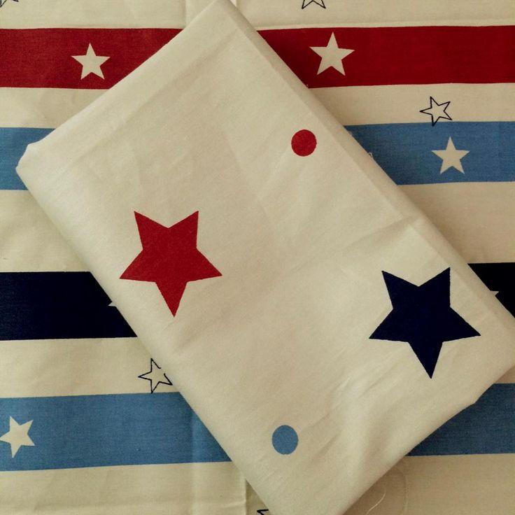 50*160cm 2pcs/LOT 100% cotton twill new MARINE style marron blue stripe and stars fabrics DIY kids bedding chic Quilting cloth