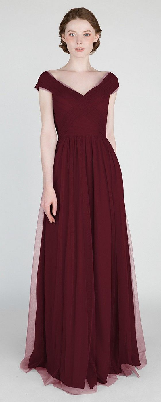 Elegant Long Off Shoulder Tulle Burgundy Bridesmaid Dress #bridalparty #wedding #bridesmaiddresses #burgundywedding