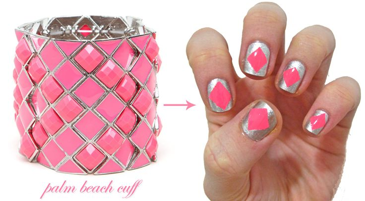 http://glittershewrote.files.wordpress.com/2012/05/palm-beach-cuff-nail-art.jpg    Even I could do this!: Metals Manicures, Nails Art, Beaches Cuffs, Palms Beaches, Cuffs Nails, Beaches Nails, Nails Craze, Manicures Inspiration, Bracelets Inspiration