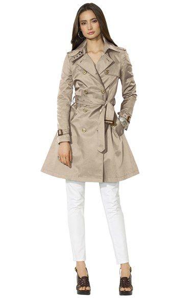 Lauren Ralph Lauren Double Breasted Skirted Trench Coat   Nordstrom