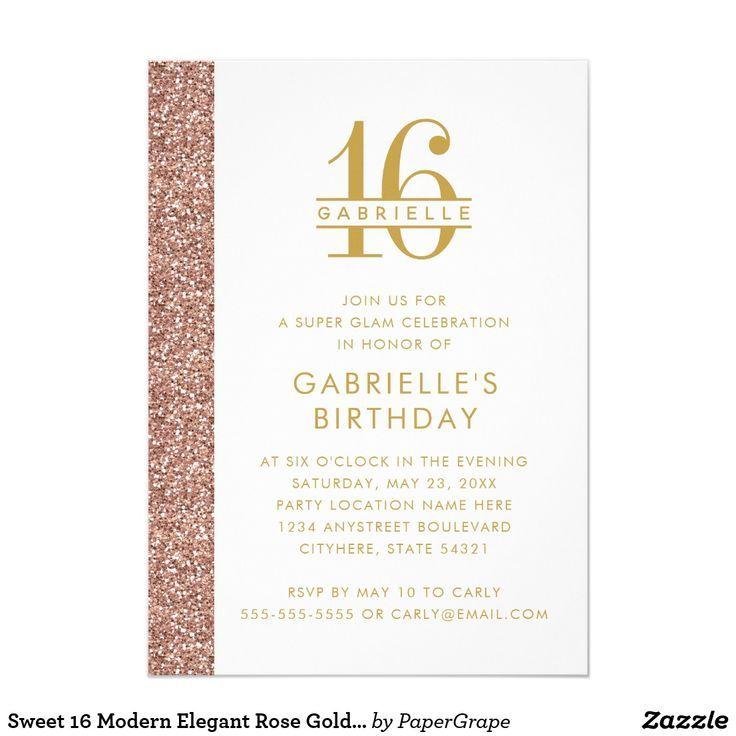 Sweet 16 Modern Elegant Rose Gold Pink Glitter Invitation