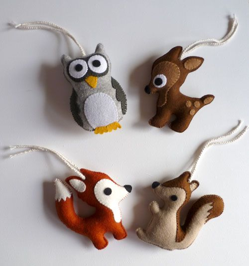 Doejij creaties: ♥ Bosdieren en een mini naamslinger van vilt.