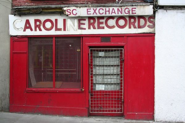 Not cute, actually, just sad: abandoned record shops that have closed because cds and mp3s have made records obsolete. Caroline Records in Dublin, Ireland. I think I called them once in the late 80s to place a mail order.