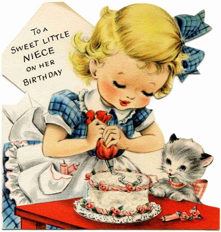 Little Miss Cake Baker and Her Kitty Helper ~ Vintage Birthday Card