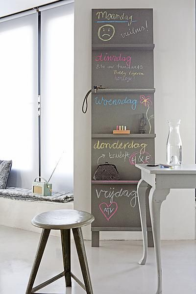 Fabulous shelving~ great idea to paint in between shelves with chalkboard paint!