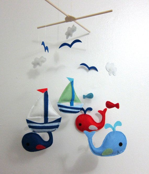 Baby Crib Mobile - Baby Mobile - Felt Mobile - Nursery mobile - sail boats and whales design (Custom Color Available) via Etsy