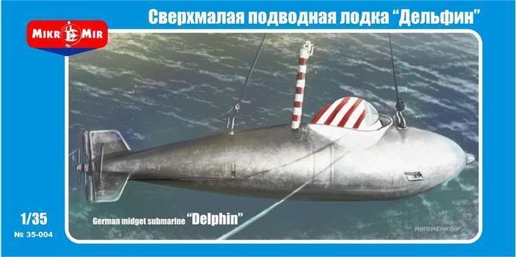 German Midget Submarine Delphin 1/35 Scale Plastic Model Kit by Micro-Mir 35-004 #MicroMir