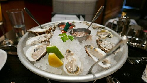 Oysters at Pennsylvania 6 brunch. The oysters were served in the traditional fashion—on ice with teensy tiny seafood forks, lemon wedges, cocktail sauce and mignonette.