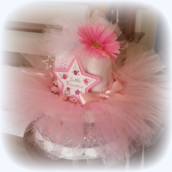 Princess Ballerina Baby Shower Gift Diaper Cake Centerpiece French Paris Tutu Little Roses Daisy Gift Decorations Pink And Black Girl. $125.00, via