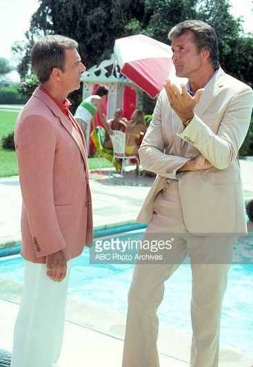 """Lyle Waggoner chats with actor Ken Berry on the set of the TV show """"Fantasy Island,"""" 1980."""