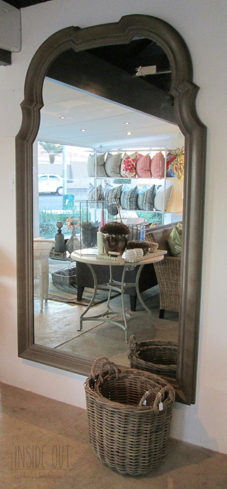 Arch Mirror, Distressed Oak Finish - 2100mm x 1220mm - Inside Out Home Boutique - Please check stock availability