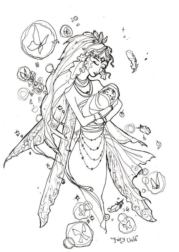 gothic fairy coloring book page book sketch fairy child by angelasasser on deviantart