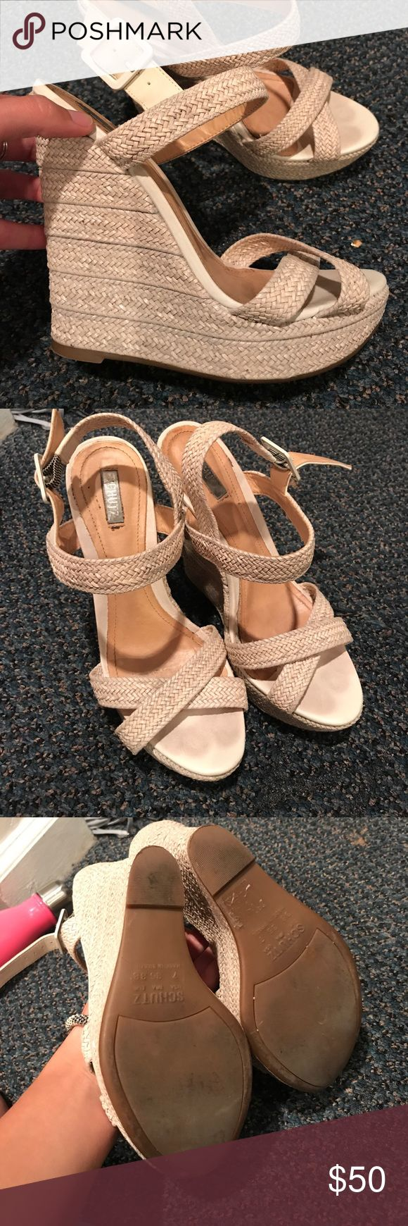 Schutz Cream Wedges cream wedges in great condition! size 7 SCHUTZ Shoes Wedges