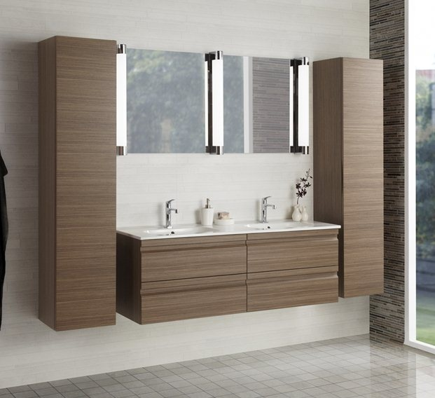 DANSANI ZARO set, walnut - good vanity top; not keen on striping of wood