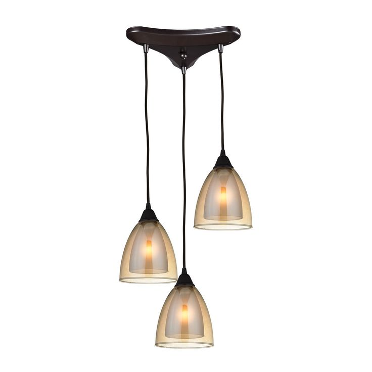 Layers 3 light pendant in oil rubbed bronze and amber teak glass 10474 3