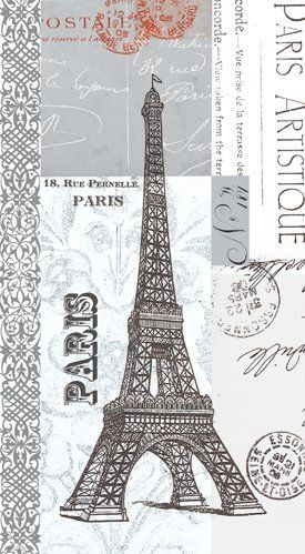 Napkin/Guest Towel - Paris Artistique - Eiffel Tower by Paper Products Design. $11.05. French, fun and fanciful!. Artwork by Paula Scaletta. 15 per package, 3-ply. French themed guest towel/buffet napkin with Eiffel Tower. Artwork on all panels. This guest towel/buffet size napkin will be perfect for your French themed event! The collage format of Paula Scaletta's artwork surrounds this napkin with the Eiffel Tower, French addresses, and French postmarks. Th...