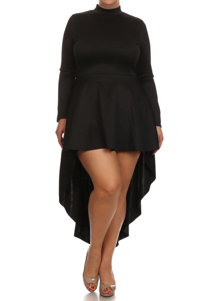 Plus Size Sexy Dip Hem Long Sleeve Dress – PLUSSIZEFIX