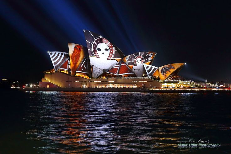 Vivid Opera House June 2016 - Aboriginal art projected on the Sydney Opera House during this year's Vivid Light Festival.