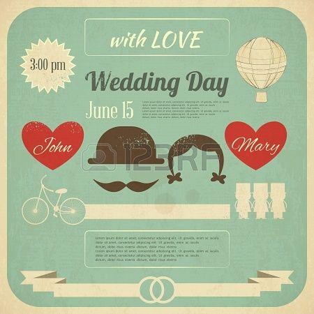 Uitnodiging van het huwelijk in Retro Infographics Style. Vintage Design, vierkant formaat. Illustratie. Stockfoto - 19218291