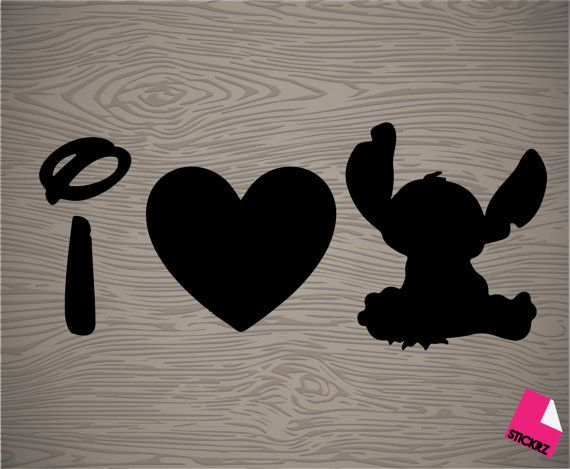 i love stitch vinyl decal sticker    if you would like to get it in a size that inst listed above let me know :D decal does not have a background color.