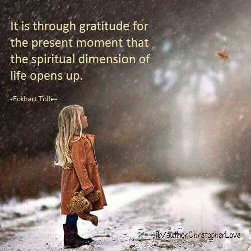 It is through gratitude for the present moment that the spiritual dimension of life opens up.