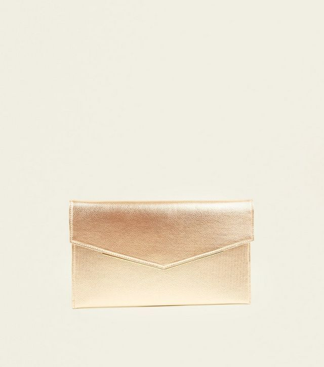 later boy running shoes Rose Gold Envelope Gold Trim Clutch Bag | New Look ...