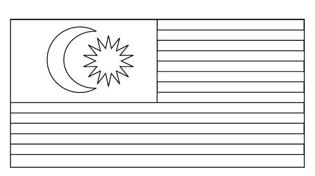 Colouring Gambar Bendera Malaysia Untuk Mewarna