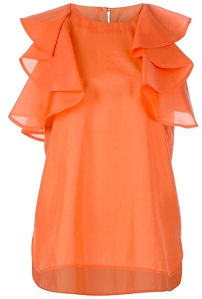 See By Chloé Orange Ruffle Blouse