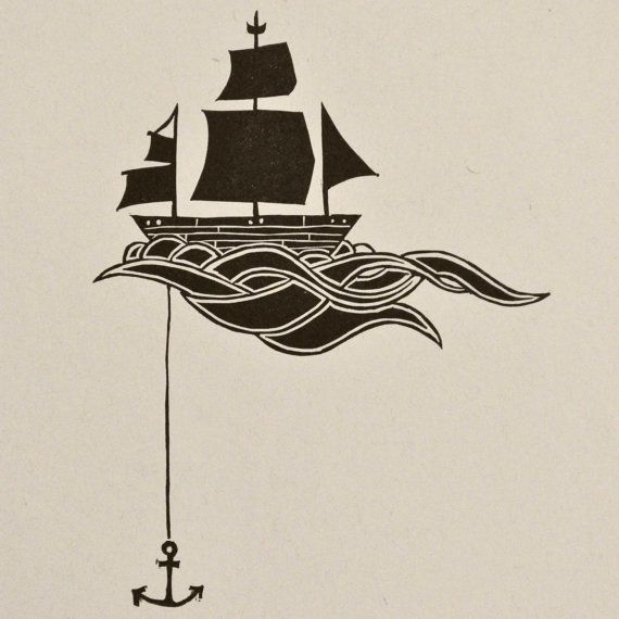 Anchored Ship Linocut Block Print by sappling on Etsy