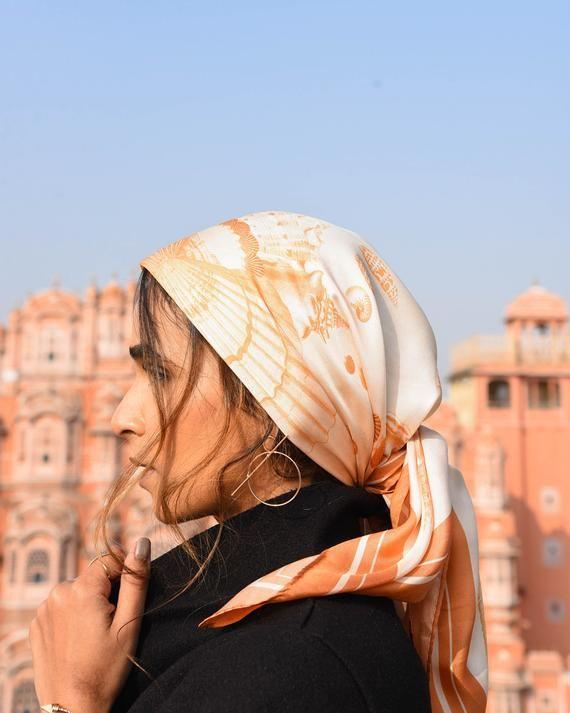 Burnt Orange Silk Scarf Silk Headscarf Hair Scarf Shell Silk Scarf Neckerchief Head Scarf Scarf Hairstyles Silk Headscarf