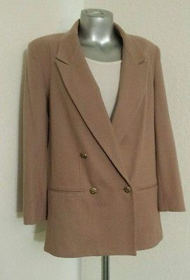 Woman's Sag Harbor Ladies Size 8 Tan Wool Blazer Jacket double breasted