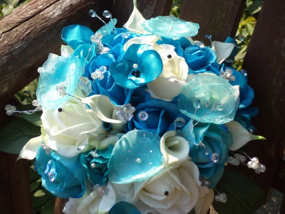 Real Touch White Rose and Pool Blue Silk Cascading by mtfloral
