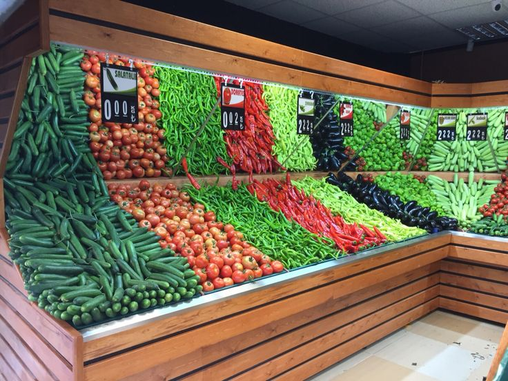 Waterfall Fruit And Veggie Displays: Www.rafso.com #Supermarket Fruit #Vegetable Shelving