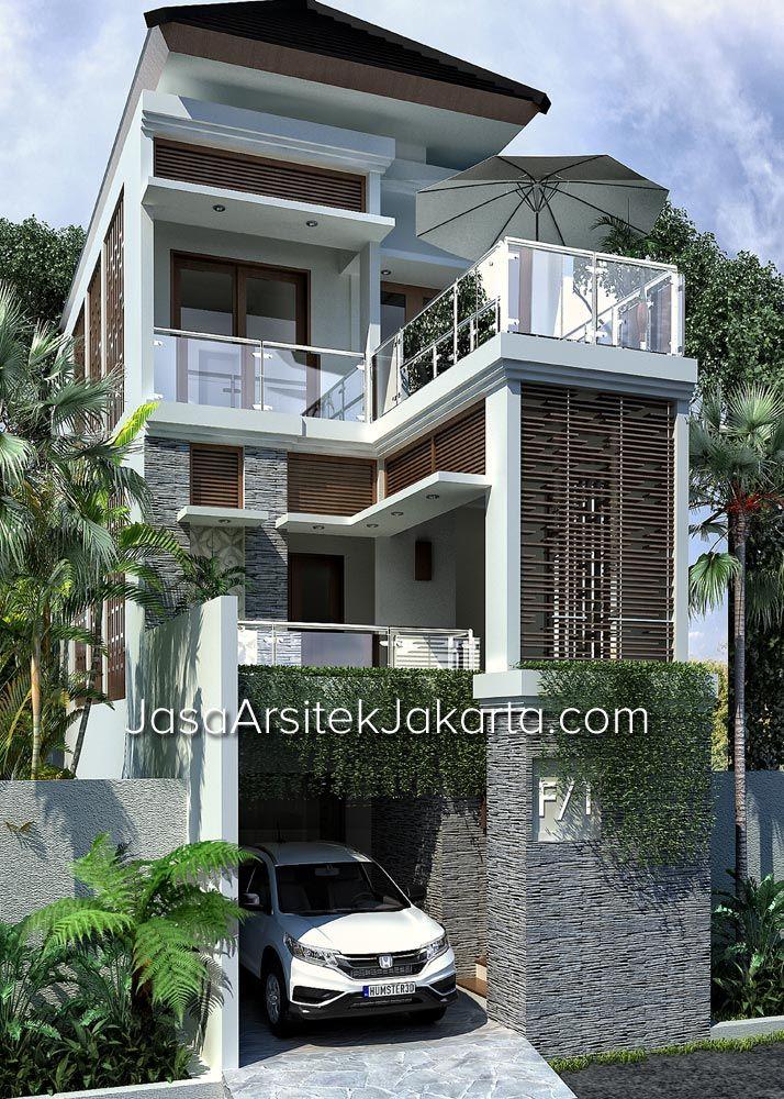 Desain Rumah 3 Lantai dengan Lebar 5,5 m Namun Elegan Bergaya Bali Modern Tropis
