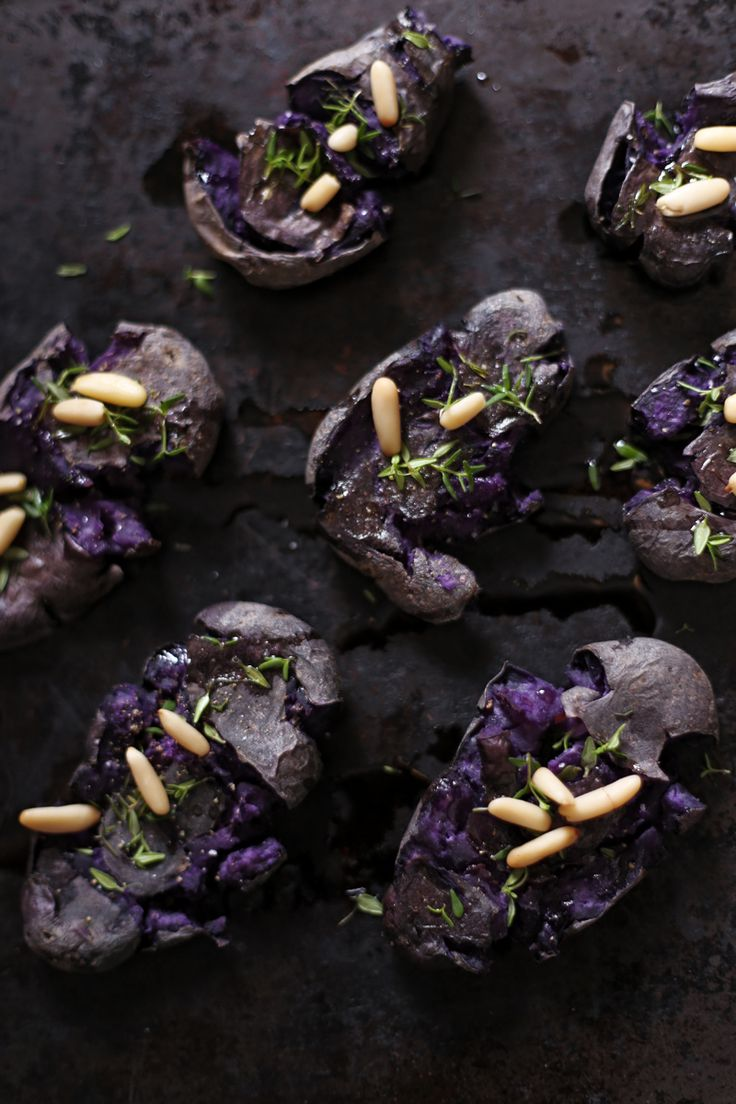 Smashed Purple Potatoes #vegan