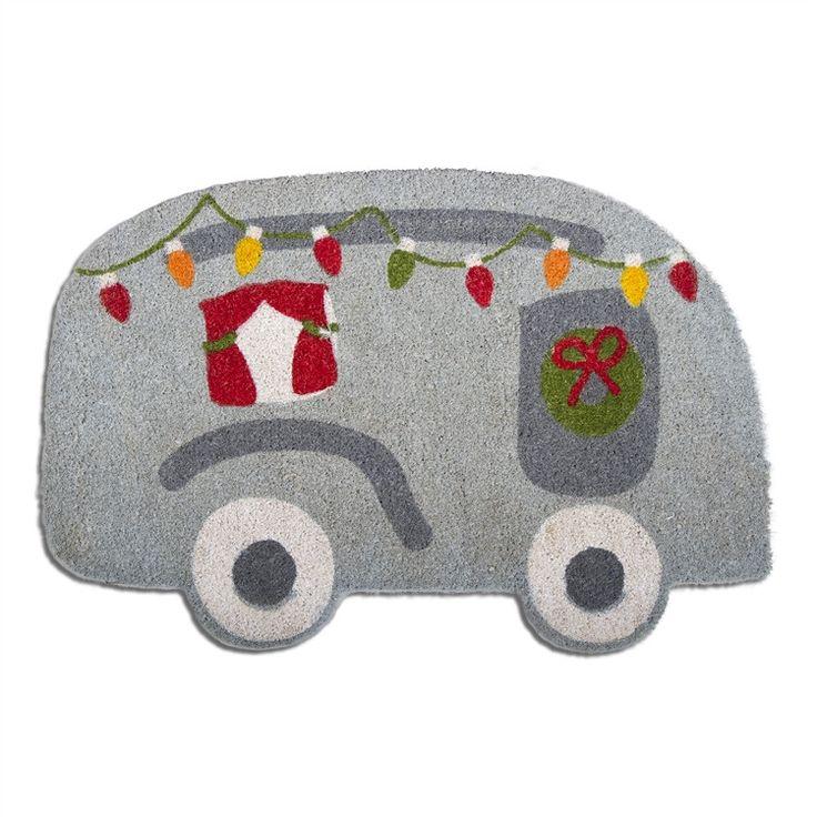 Christmas Camper Shaped Coir Mat
