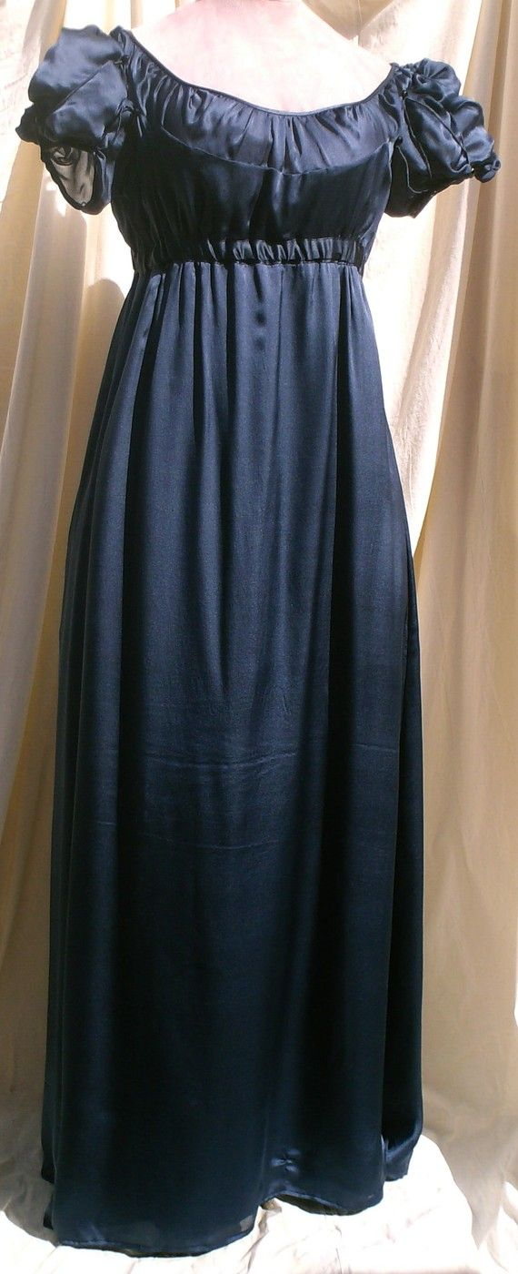 English Regency Gown in Sapphire Blue Satin Faced Chiffon by SatinShadowDesigns